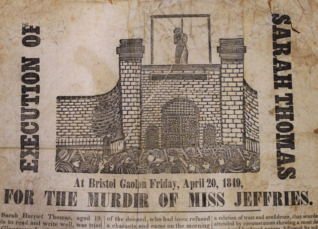 The execution poster of Sarah Thomas, 1849 © Bristol Record Office