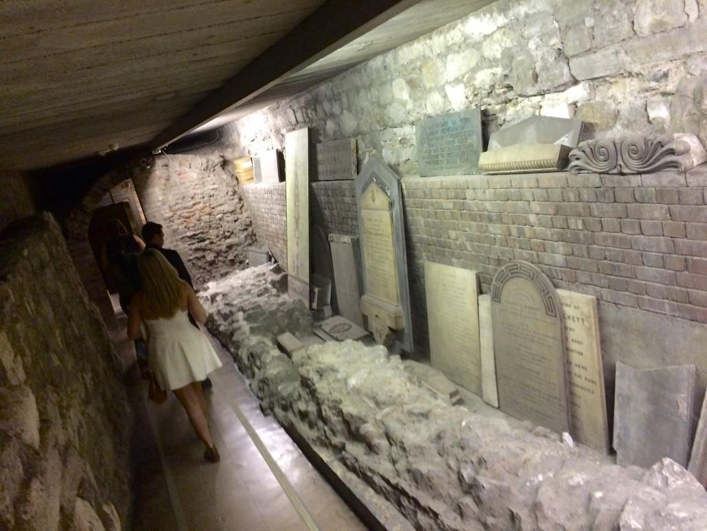 Gravestones in St. Bride's crypt © Katherine Conlon